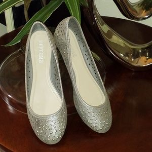 Dept. 222 silver maddie flats with cutout design